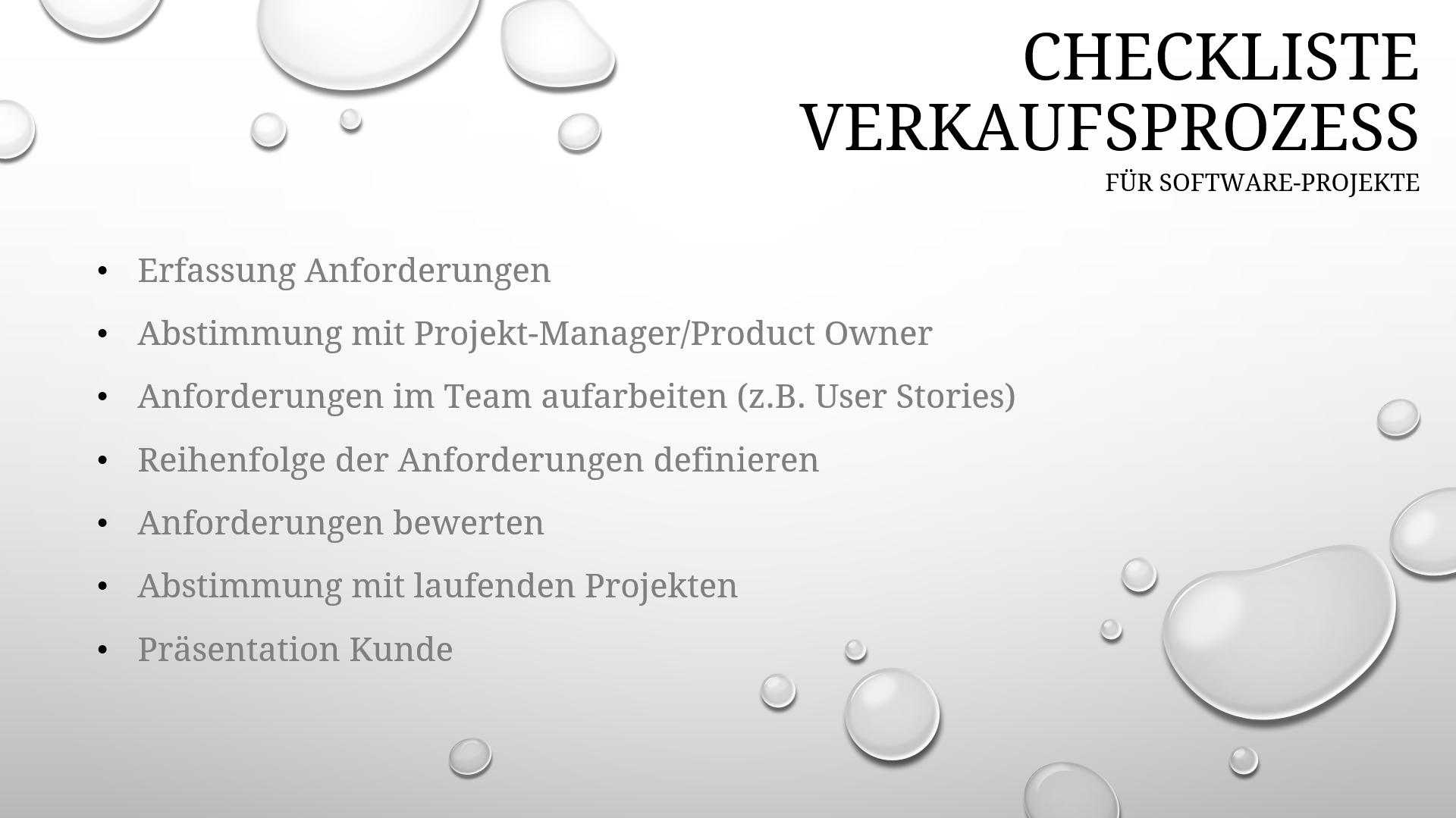 Checkliste Verkaufsprozess bei Software-Projekten