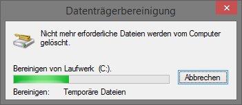 Datenträgerbereinigung - Temporäre Dateien