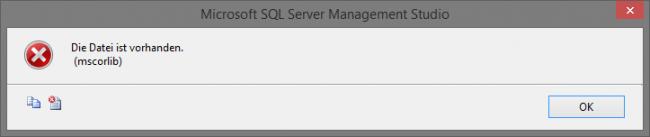 Microsoft SQL Server Management Studio: Datei ist vorhanden
