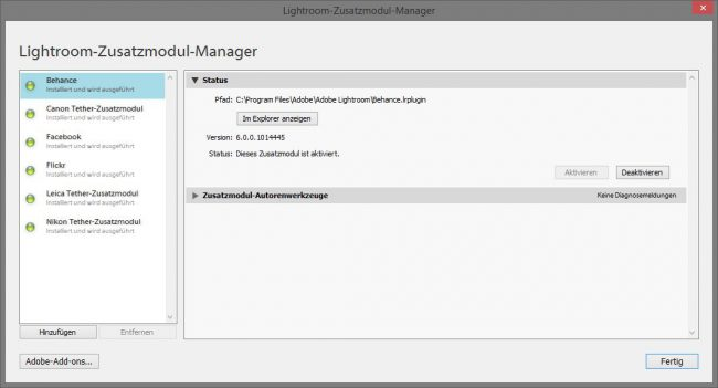 Lightroom Zusatzmodul-Manager