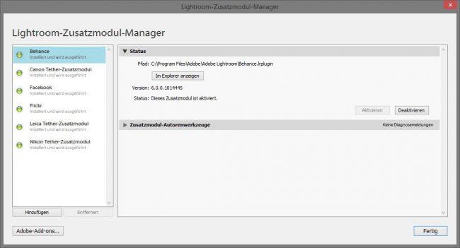 Lightroom Zusatzmodul-Manager