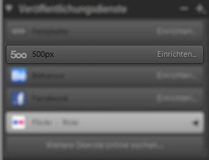 Lightroom Veröffentlichungsdienste 500px