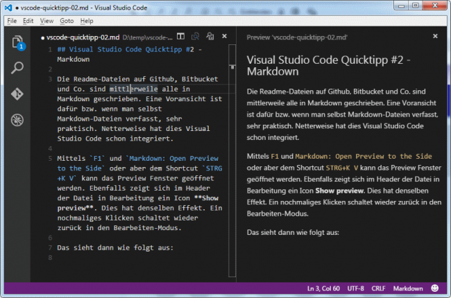 Visual Studio Code Markdown Preview