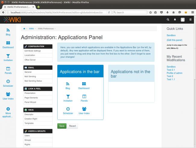 XWiki Application Panel