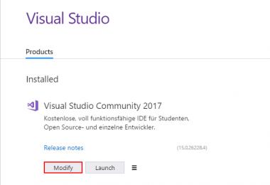 Modify Visual Studio 2017