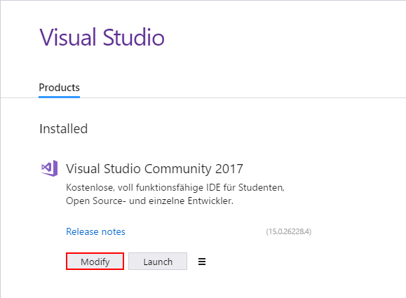 Modify Visual Studio 2017