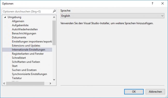 Visual Studio Sprachwechsel
