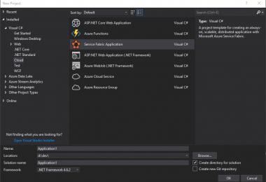 Service Fabric Application Template   Visual Studio 2017