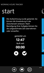 Working Hours Tracker for WP7 - Home screen - Started