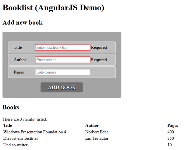 Bücherliste mit AngularJS