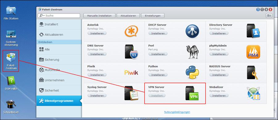 Synology VPN Paket installieren
