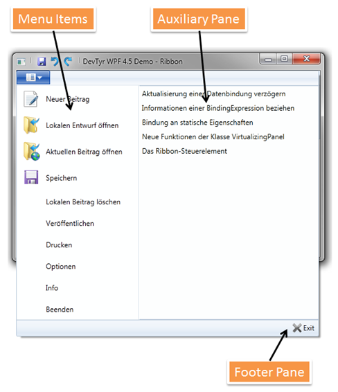 Bestandteile des Ribbon Application Menu