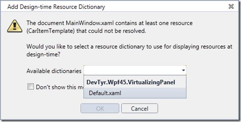 Design-time Resource Dictionary hinzufügen